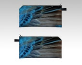 Bird Wing Pencil Case - Indigo Bunting Feather - Zipper Pouch - Pencil Pouch - Cosmetics Pouch - Cosmetics Case - Pink blue Red