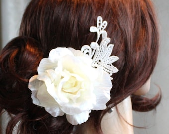 Ivory Rose Hair clip flower clip wedding headPiece vintage Lace hair comb