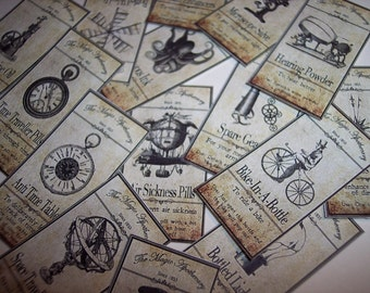 Steampunk Apothecary Sticker Labels Set of 15