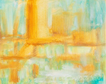 Abstract Painting 8 x 10 Spring Palette Gold, Light Green, Teal Blue, Aqua Blue Original Abstract Acrylic Painting