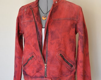 "Red Medium Denim JACKET - Scarlet Red Hand Dyed Upcycled Old Navy Denim Trucker Jacket - Adult Womens Size 16 Juniors Medium (38"" chest)"