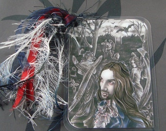Forbidden - Watercolor Painting - Laminated bookmark with ribbons