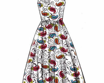 Classic Sleeveless Dress Pattern, Racer Back Dress Pattern, McCall's Sewing Pattern 6955