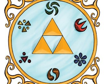 Legend of Zelda Triforce and Sage Emblems art print