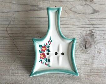 1940s Art Deco Decora Ceramics Tea Bag Holder Floral Scarce