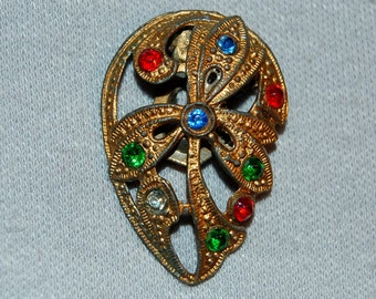 Vintage / Dress Clip / Rhinestone / Multicolor / Collectible / old jewelry / jewellery