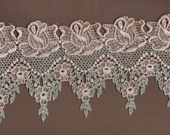 Hand Dyed Venise Lace Victoriana  Vintage Sea Blush