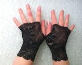 Fingerless  lace black short  vampire, Steampunk Noir wedding Steampunk Noir Lolita Cosplay Costume Burlesque