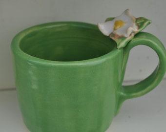 Hand sculpted trillium mug