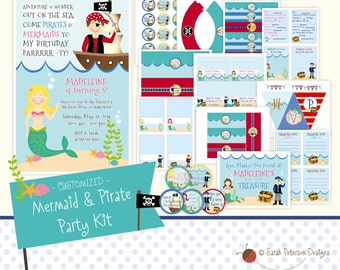 Custom Mermaid and Pirate Birthday Party Printables Package
