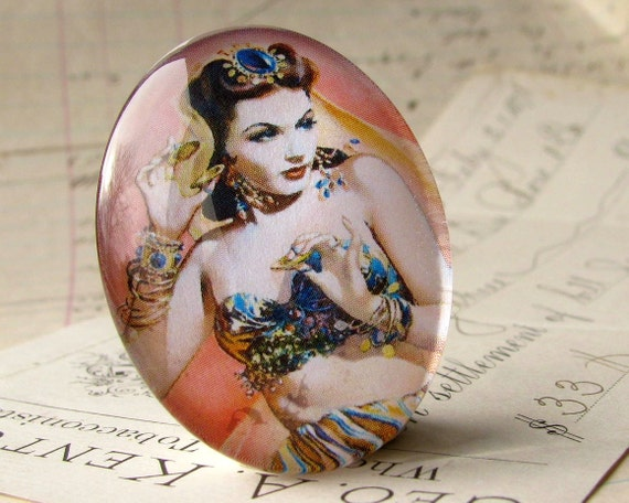 Burlesque Dancer, 1930s, handmade 40x30 40x30mm 30x40mm 40 30 mm glass oval cabochon, peach pink yellow purple black