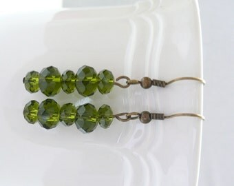 ndb-Olive Crystal Rondelle and Antique Bronze Dangle Earrings