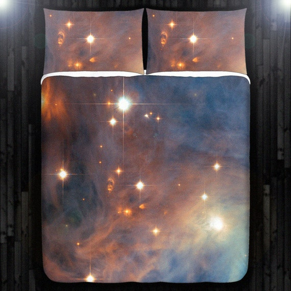 Nebula galaxy planet outer space duvet cover bedding queen for Outer space bedding