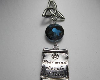 Wiccan Rede Necklace Pagan Ever Mind the Rule of Three triquetra and pentagram necklace with faceted blue crystal
