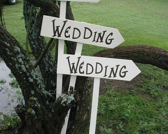 Set of 3 Rustic Wood White Wedding Directional Stake Signs Bridal With Directional Arrow