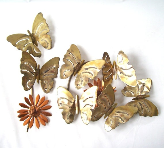 Vintage copper butterfly flower wall hanging by recyclebuyvintage - Butterflies wall decorations ...