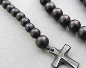 Mens black wooden beaded rosary necklace with small swarovski crystal cross