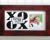 5X10 Picture Frame Distressed Red Black Quote Sentiment Mat XO OX Hugs and Kisses Photo Frame