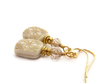 Ivory Creme Vintage Style Earrings - Acrylic Etched Beads - Gold Inlay - Bridal Earrings - Simple Elegant