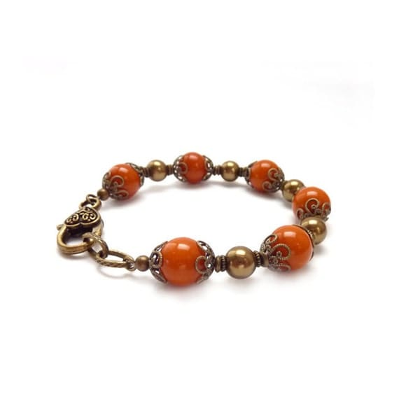 Orange Bracelet - Vintage Beads - Burnt Orange - Chunky Bracelet - Swarovski Pearls - Antiqued Bronze Beads - Retro Bracelet