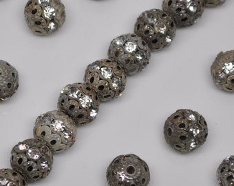 10mm Vintage Silver Patina Rhinestone Filigree Beads 10 or 20 Pieces