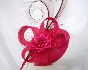 Cerise Fuchsia Pink Curl Feather Sinamay Loop Pearl Rhinestone Isadora Wedding Fascinator Mini Hat - Made to Order