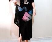 Vintage 80s 90s Tie Dye Batik Black Skirt, Double Layer Long Ethnic tribal Skirt,