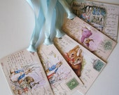 Peter Rabbit Digital Image - Beatrix Potter - Instant Download 5 Peter Rabbit GIft Tags - DIY - pdf