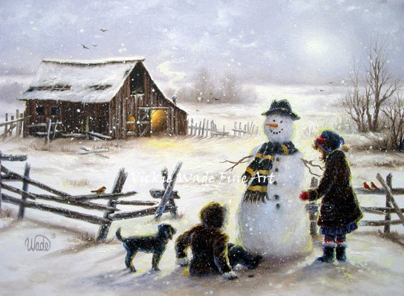 Snowman and Two Girls Art Print snowman paintings, two sisters winter barn wall art paintings, Vickie Wade art