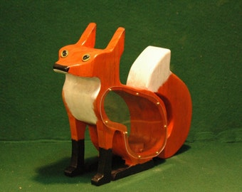 Handcrafted, Hand Painted wooden Fox Bank.
