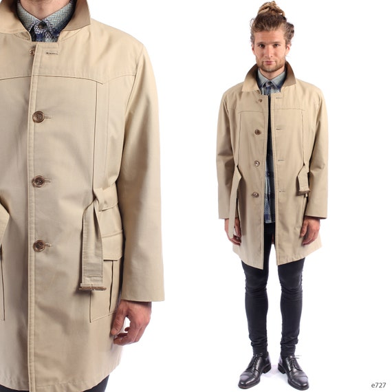 Mens Beige TRENCH Coat . Vintage 60s Raincoat by BetaMenswear