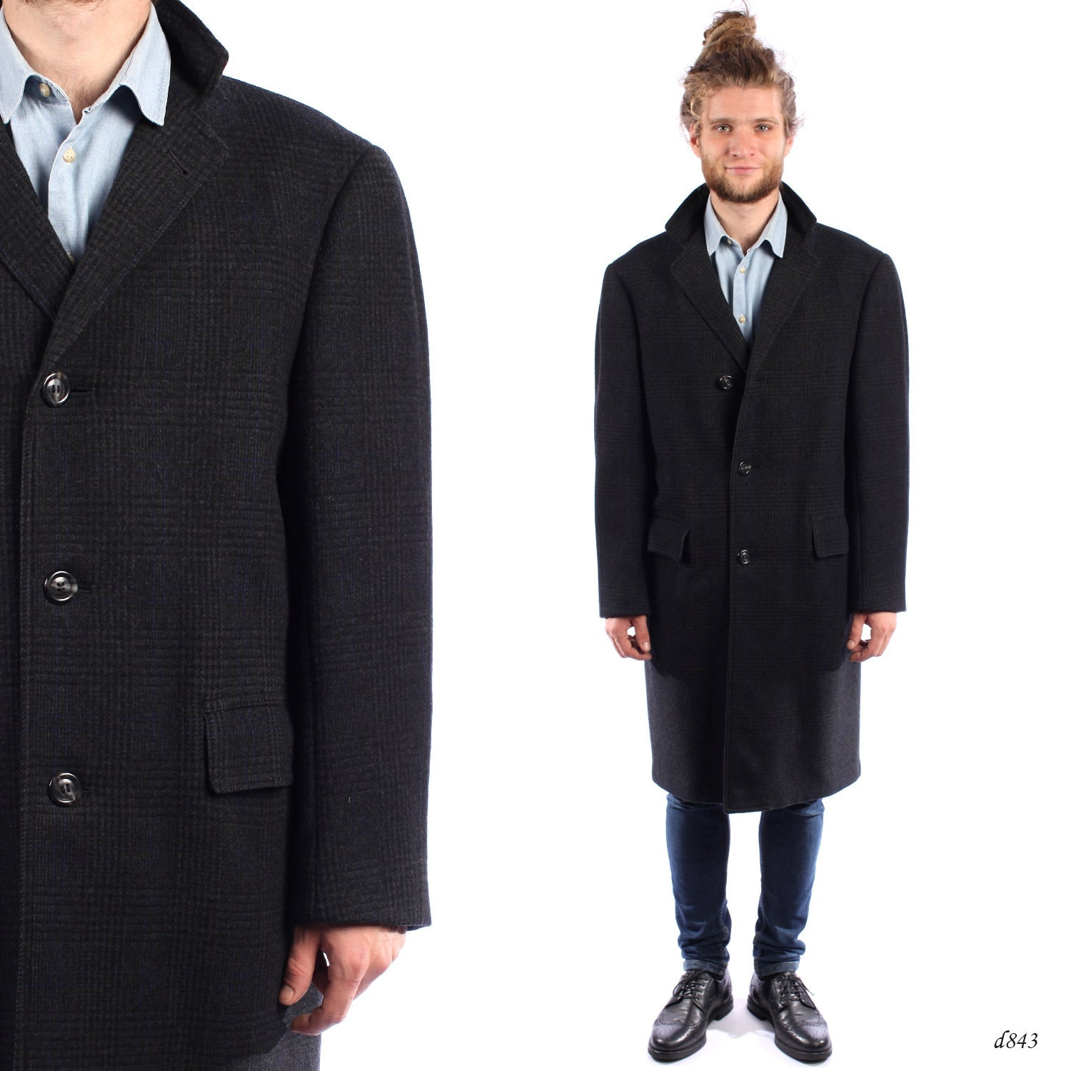 Mens WOOL Coat . Vintage 1960s Black Wool Winter Topcoat Retro