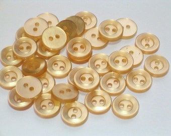 Pale Golden Yellow Vintage Plastic Buttons 10mm Doll Size Craft Sewing Buttons Set 35