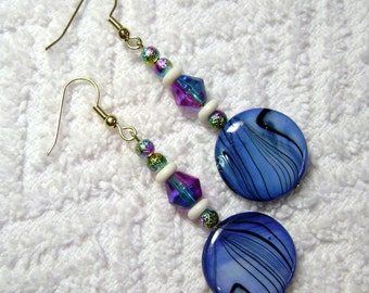 Blue Shell Earrings - Shell Earrings - Dangle Earrings - Earrings - Jewelry - E75
