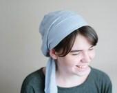 Light Blue Linen Snood - Tichel, Hair Snood, Head Scarf, Pre Tied Bandana Alternative