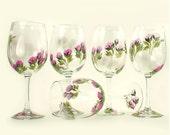 Bridesmaid Wine Glasses - Elegant Hand Painted Pink Roses, Green Leaves, Set of 5, 12 oz - Matron Maid of Honor