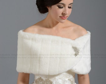 Ivory faux fur wrap bridal shrug stole shawl FW006-Ivory