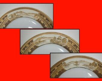 Antique Nippon Dessert Plates, Set of 6,  Morimura Bros., Age 1911 to 1918
