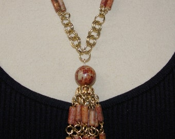 Vintage Brown Tassel Necklace, Super Light Weight,  1970's