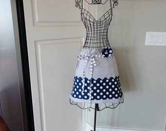 """Blueberry Pie- HALF Navy Blue and Gray Dot-  """"Barbie Style Pockets & More""""  Women's Apron - 4RetroSisters"""