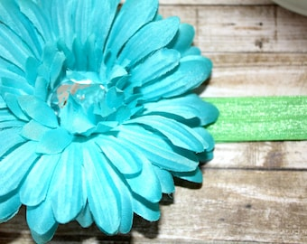 Turquoise Gerber Daisy  Hair Clip, Headband, Hair Accessories, Gerber Daisy, Photo Hair Piece, Photo Prop Girls Hair Accessories