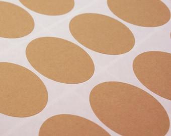 Medium OVAL kraft brown labels sticker sheet