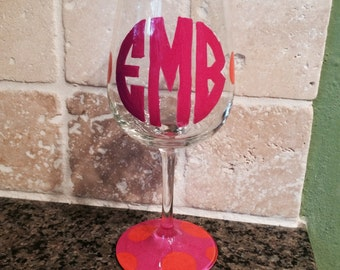 Monogrammed Hand painted and Personalized Wine glasses Etc. Etc.