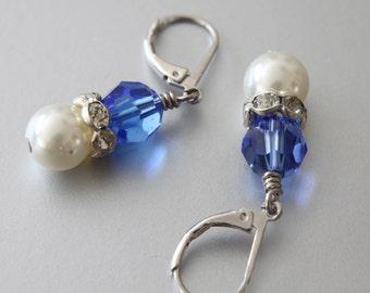 SALE 40% OFF, Swarovski Crystal Pearls Earrings, Bicone Beads, Rhinestone Spacers, Leverback Earrings