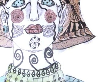 Tribal Woman Portrait, Zentangle Inspired Woman Protrait