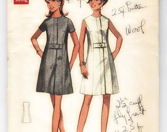 60s Semi Fitted Aline Dress Butterick 4764 Vintage Sewing Pattern