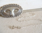 Mask Necklace, Theater Mask Necklace, Masquerade Necklace, Mardi Gras Necklace, Silver Mask - Venetian Silver Mask Necklace
