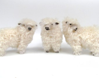 Handmade Sheep Figurines, Englsih Sheep Pottery, Lincoln Longwool in Mohair and Porcelain