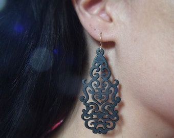 Wood Earrings - Black Wood Earrings - Intricately Carved/Cut Wood Earrings - Matte Black - Sculpted Earrings - Asian Style - Chinese Dragon