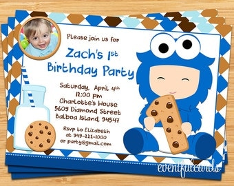 cookie monster baby shower invitations